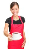 Waitress serving coffee Royalty Free Stock Photography