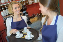 Waitress serving cup drinks Royalty Free Stock Photo