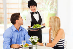 Waitress serving customers. Happy waitress serving customers in restaurant Stock Images