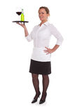 Waitress serving drinks Royalty Free Stock Images