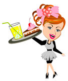 Waitress serving food and drink Royalty Free Stock Images