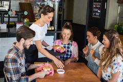 Waitress serving food to customers in restaurant. Waitress serving food to cheerful customers in restaurant Royalty Free Stock Image