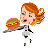 Waitress serving hamburger Stock Photography