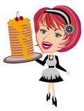 Waitress serving pancake. Waitress serving pamcake solated vector Stock Images