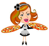 Waitress serving pizza Royalty Free Stock Image