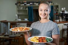 Waitress Serving Plates Of Food In Restaurant. Portrait Of Waitress Serving Plates Of Food In Restaurant Stock Photo