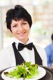 Waitress serving salad Royalty Free Stock Photo
