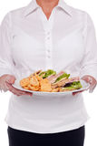 Waitress serving a sandwich Stock Photography