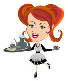 Waitress serving tea cup. Solated vector Royalty Free Stock Images