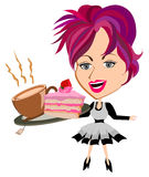 Waitress serving tea. And sliced cake solated vector Royalty Free Stock Photos