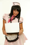 Waitress showing a blank card in tray Stock Images