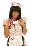 Waitress showing a business card Royalty Free Stock Image