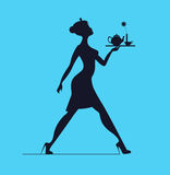 Waitress silhouette on a blue background. Slender girl carrying Royalty Free Stock Images