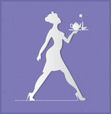 Waitress silhouette on a blue background. Slender girl carrying Stock Image