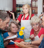 Waitress With Slow Customers Stock Photo