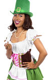 Waitress in St Patrick's Day Costume Royalty Free Stock Photo