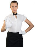 Waitress stopping somebody Royalty Free Stock Photos