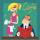 Waitress takes an order from a customer in the. The waitress takes an order from a customer in the cafe, guest considers menu royalty free illustration