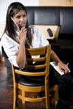 Waitress taking a break stock photo