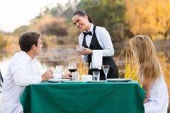 Waitress Taking Order Customer Stock Photo