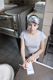 Waitress taking order in a fast food restaurant Royalty Free Stock Images