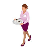 Waitress with tea pot and tea cup. Tea waitress for cafe or waitress for fast food restaurant. flat 3d vector isometric Royalty Free Stock Photography