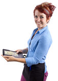 Waitress Tips. Waitress collecting her check / tip / or gratuity Stock Images