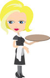 Waitress with tray Royalty Free Stock Photo