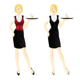 Waitress with tray. Blond Pretty woman in uniform Royalty Free Stock Photo