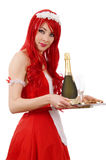 Waitress with tray and champagne Stock Photos