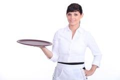 Waitress with a tray Stock Photo