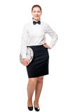 Waitress with a tray in full length isolated on white Stock Photos