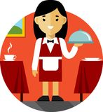 Waitress with tray on restaurant background in flat style Stock Photo