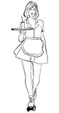 Waitress with a tray on roller skates, vector line art. Waitress from a diner. Short skirt. Waitress with a tray on roller skates, vector line art. Waitress Stock Photo