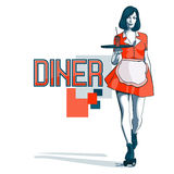 Waitress with a tray on roller skates, vector line art. Waitress from a diner. Short skirt. Waitress with a tray on roller skates, vector line art. Waitress Royalty Free Stock Photography