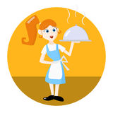Waitress with tray serving dish. Waitress with tray. Tea waitress for cafe or waitress for fast food restaurant. Vector illustration Royalty Free Stock Photo