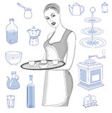 Waitress with a tray and utensils Royalty Free Stock Image