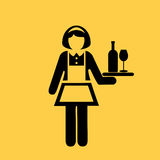 Waitress vector icon Royalty Free Stock Images