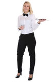 Waitress waiter female blond young woman serving with tray resta Stock Photography