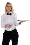 Waitress waiter female blond young woman serving with tray resta Royalty Free Stock Photography