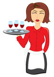 Waitress with wine Stock Photography