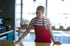 Waitress wiping table at counter Royalty Free Stock Images