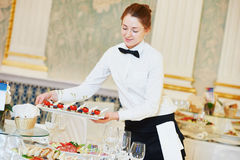 Waitress woman in restaurant Royalty Free Stock Photos