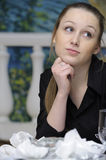 Waitress at work. Waitress dreams of the table with dirty dishes Stock Image