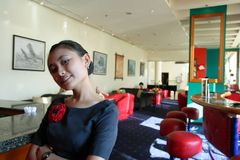 Waitress at work royalty free stock photo