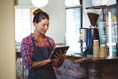Waitress writing in a book Royalty Free Stock Image