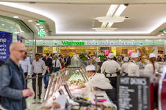 Waitrose Food, Fashion & Home in Canary Wharf with a busy crowd royalty free stock photography