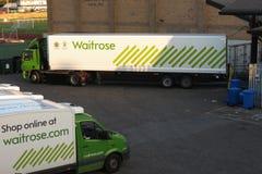 Waitrose lorries in Hexham. HEXHAM, UK - CIRCA AUGUST 2015: Waitrose supermarket lorries stock photography