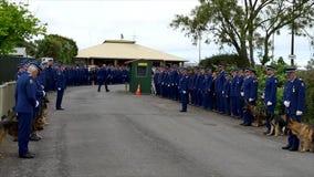 Waiuku, Auckland, Nowa Zelandia, 09 12 2016 Strzał pogrzeb z policją, psami, motocycles & helikopterem jako strażnik honor, zbiory
