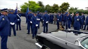 Waiuku, Auckland, Nowa Zelandia, 09 12 2016 Strzał pogrzeb z policją, psy, motocycles zdjęcie wideo